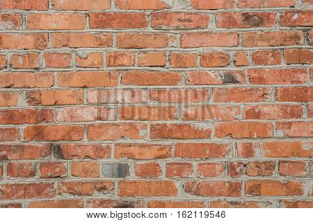 Old Brick Wall Of Red Brick, Uneven Bricks