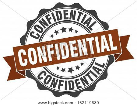 confidential. stamp. sign. seal. round. retro. ribbon