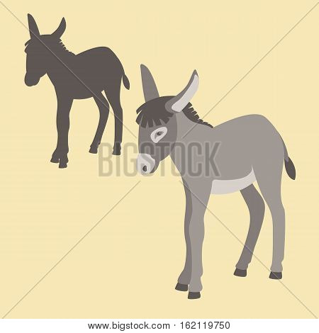 Donkey vector illustration style Flat set silhouette