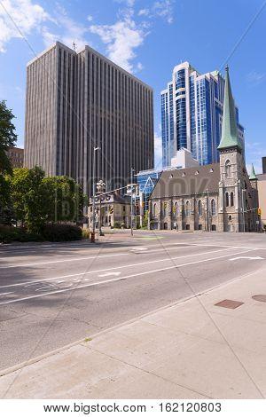 Elgin Street in Ottawa sunny summer day.