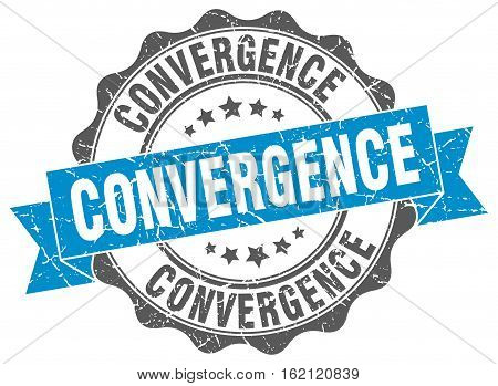 convergence. stamp. sign. seal. round. retro. ribbon