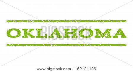 Oklahoma watermark stamp. Text caption between horizontal parallel lines with grunge design style. Rubber seal stamp with dust texture. Vector eco green color ink imprint on a white background.