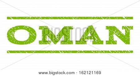 Oman watermark stamp. Text caption between horizontal parallel lines with grunge design style. Rubber seal stamp with dirty texture. Vector eco green color ink imprint on a white background.