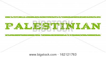Palestinian watermark stamp. Text caption between horizontal parallel lines with grunge design style. Rubber seal stamp with dirty texture. Vector eco green color ink imprint on a white background.