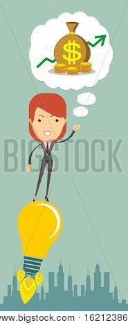 Businesswoman dreaming about money flying on the idea - rocket tube. Vector flat illustration
