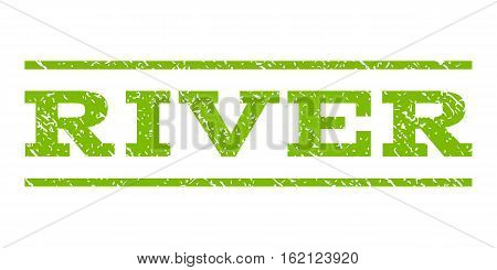 River watermark stamp. Text caption between horizontal parallel lines with grunge design style. Rubber seal stamp with scratched texture. Vector eco green color ink imprint on a white background.