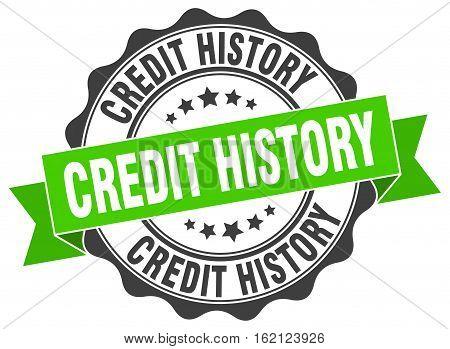 credit history. stamp. sign. seal. round. retro. ribbon