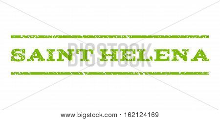 Saint Helena watermark stamp. Text caption between horizontal parallel lines with grunge design style. Rubber seal stamp with dirty texture. Vector eco green color ink imprint on a white background.