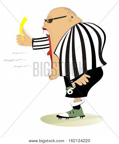 Referee . Angry referee shows a yellow card