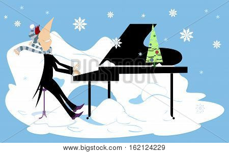 Winter concert. Smiling pianist is playing music under the falling snow