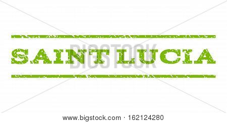 Saint Lucia watermark stamp. Text caption between horizontal parallel lines with grunge design style. Rubber seal stamp with scratched texture.