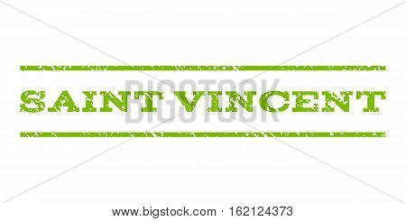 Saint Vincent watermark stamp. Text tag between horizontal parallel lines with grunge design style. Rubber seal stamp with unclean texture. Vector eco green color ink imprint on a white background.