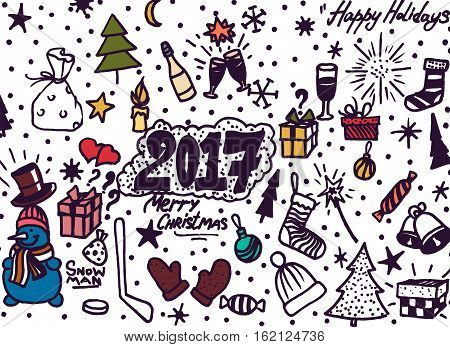 Hand-Drawn Christmas Sketchy Notebook Doodles- Vector Illustration Design Elements on Lined Sketchbook Paper Background.