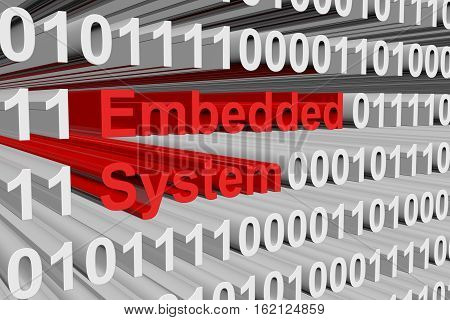 embedded system in the form of binary code, 3D illustration