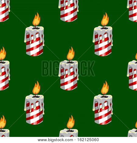 Seamless pattern with burning candle. Cartoon illustration
