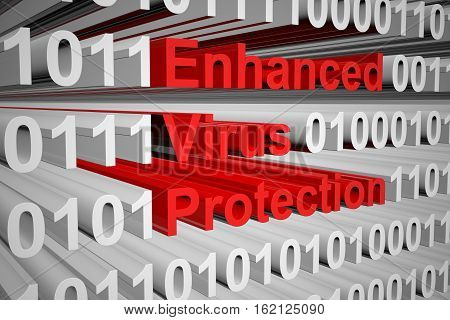 Enhanced Virus Protection in the form of binary code, 3D illustration