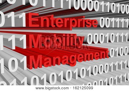 Enterprise Mobility Management is presented in the form of binary code 3d illustration
