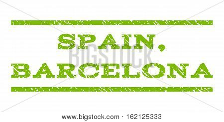 Spain, Barcelona watermark stamp. Text caption between horizontal parallel lines with grunge design style. Rubber seal stamp with dust texture.