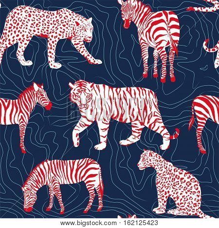wild animals zebra tiger panther seamless pattern contour background