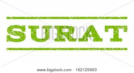 Surat watermark stamp. Text tag between horizontal parallel lines with grunge design style. Rubber seal stamp with dirty texture. Vector eco green color ink imprint on a white background.