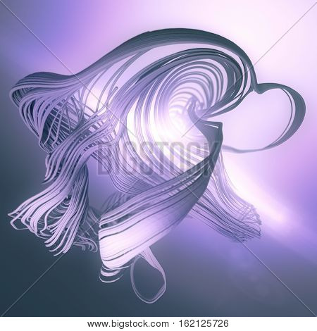 Abstract 3d rendering trail trace effect with volumetric light behind