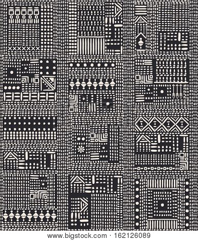 Ethnic abstract ornament. Seamless pattern with hand-drawn design elements. Monochrome vector illustration on dark background.