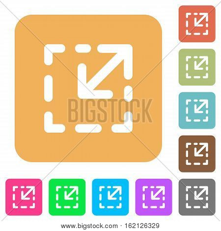 Resize element icons on rounded square vivid color backgrounds.