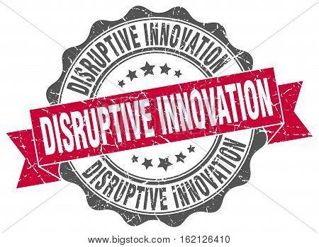disruptive innovation. stamp. sign. seal. round. retro. ribbon