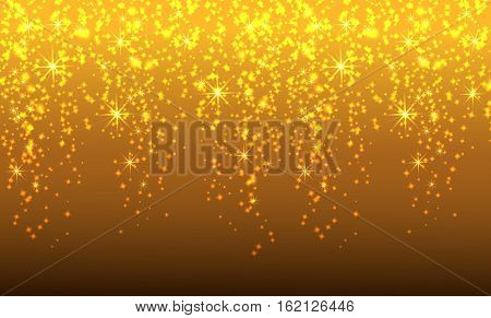 Golden sparkling glitter threads of curtain backdrop of shiny sequins or fashion strass drops for Christmas New Year decor. Vector illustration.