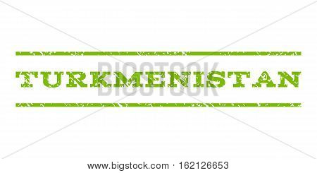 Turkmenistan watermark stamp. Text caption between horizontal parallel lines with grunge design style. Rubber seal stamp with unclean texture. Vector eco green color ink imprint on a white background.