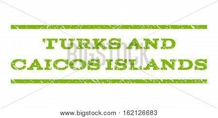 Turks and Caicos Islands watermark stamp. Text tag between horizontal parallel lines with grunge design style. Rubber seal stamp with dirty texture.