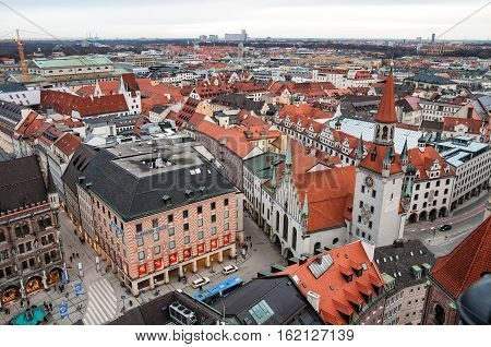 MUNICH GERMANY - JANUARY 09 2011 - Aerial view on Marienplatz and Old Town Hall