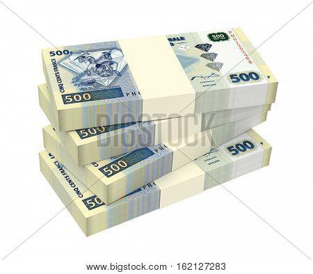Congolese francs isolated on white background. 3D illustration.