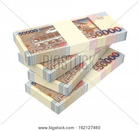 St. Thomas Dobras bills stack isolated on white background. 3D illustration.