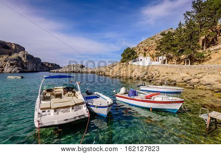 Rhodes island, Dodecanese, Greece - May 19, 2016: St. Pauls Bay in Lindos village