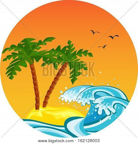 Tropical island with sandy ocean beach, palm trees, waves, flying birds and sun