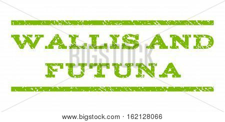Wallis and Futuna watermark stamp. Text caption between horizontal parallel lines with grunge design style. Rubber seal stamp with dirty texture.