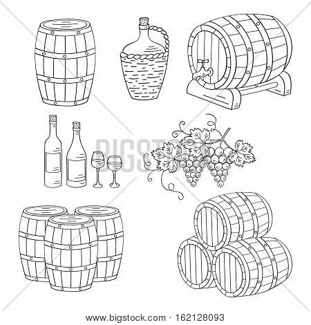 Wine barrels set vector hand drawn doodle sketch icons. Wine and wine making objects bottles, glasses, grapes isolated.