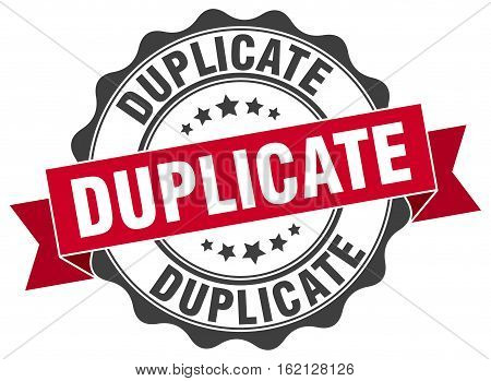 duplicate. stamp. sign. seal. round. retro. ribbon