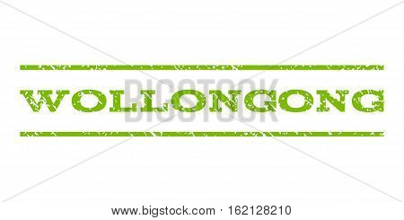 Wollongong watermark stamp. Text caption between horizontal parallel lines with grunge design style. Rubber seal stamp with dirty texture. Vector eco green color ink imprint on a white background.