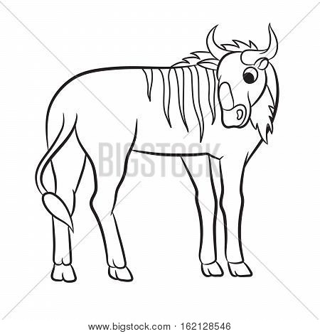 Outlined illustration of a wildebeest. Coloring page