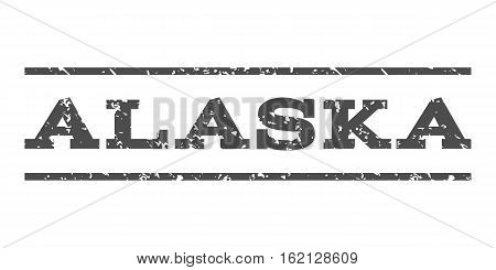 Alaska watermark stamp. Text tag between horizontal parallel lines with grunge design style. Rubber seal stamp with unclean texture. Vector gray color ink imprint on a white background.