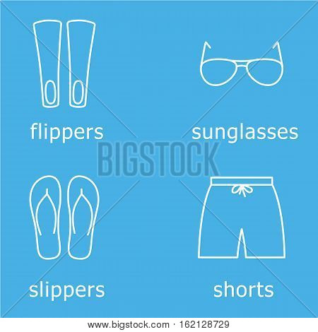 mens beachwear outline icon set contains hswim shorts, flippers, sunglasses and slippers