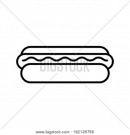 hot dog outline icon, sausage and bun snack, popular american lunch