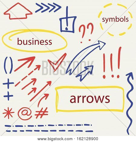 set of hand drawn isolated arrows, for business and finanial presentation, isolated presentation design elements, vector eps 8
