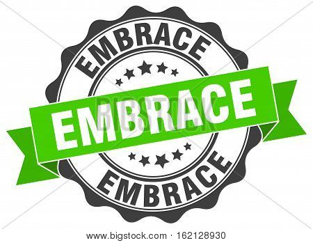 embrace. stamp. sign. seal. round. retro. ribbon