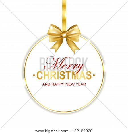 Merry Christmas and Happy New Year round banner with gold bow isolated on white background. Vector illustration.