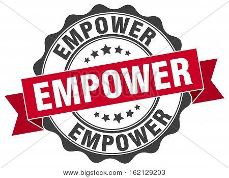 empower. stamp. sign. seal. round. retro. ribbon