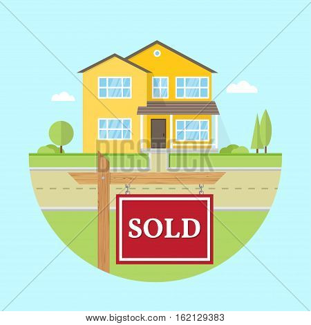 Beautiful american house on the blue background with SOLD sign. For web design and application interface, also useful for infographics. Family house icon isolated on white background. Real estate.