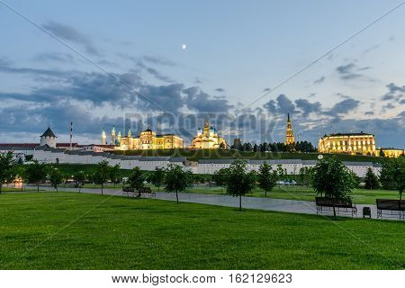Night view of the Kazan Kremlin with Presidential Palace, Annunciation Cathedral, Soyembika Tower and Qolsharif Mosque, Kazan, Russia.